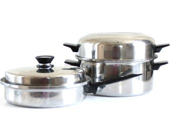 Amway Royal Skillet w/ Amway Queen Lid, Amway Royal Dutch Oven & Dome Lid, Stainless Waterless Cookware, Vintage