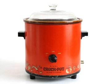 Vintage Rival Crock Pot, 3.5 Qt Model 3100, Glass Lid, Red Orange (as-is, see Item Details)
