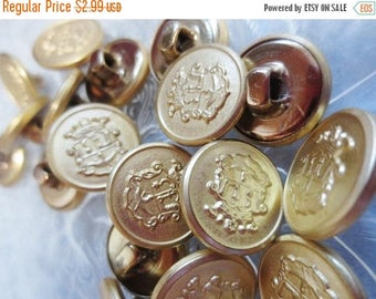 "30% OFF SALE Gold Metal Buttons 5/8"" Heraldry Crest Nautical 16mm-24 pieces"