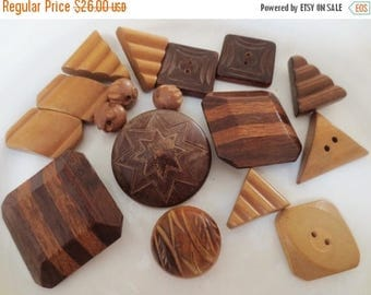 30% OFF SALE Vintage Wood Buttons Lot Large Shank 2 Hole Brown Neutral Mix  (17)