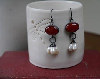 Carnelian and pearl drop earrings