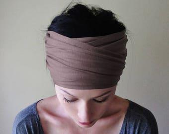 DEEP TAUPE Headband - Extra Wide Yoga Headband - Brown Gray Jersey Head Scarf - Dark Taupe Headband for Women - Bohemian Hair Accessories