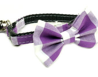 Cat or Dog Bow Tie - Purple Plaid, Purple and White, Purple and White Checkered
