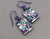 Color Layers in Green, Blue, Violet and Pink, with Horizontal Lines, Polymer Clay, Stroppel Cane, French Hook Earrings