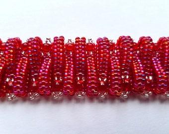 red woven beaded bracelet, hand woven bracelet, beaded bracelet, handmade bracelet, cuff bracelet, woven bracelet