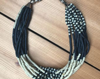 black & white graphic statement necklace // hand beaded with silver tone hook clasp
