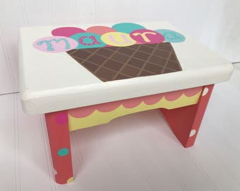 Custom Painted Little Girl's Step Stool- Ice Cream