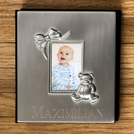 Engraved Silver Baby Photo Album Baby Gift Personalized