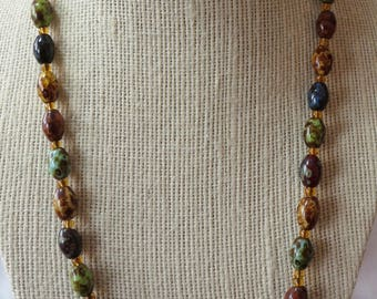 """Multicolored vintage necklace, glass stones, separated with amber ones, approx 20.5"""" ins long, good working clasp. V.Nice.  GB16.10-11.11-7."""