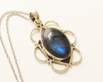 Sterling Blue Banded Agate Pendant Necklace 925 1970s