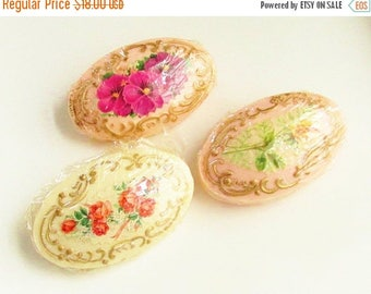 ON SALE 3 Vintage Cottage Chic Decorative Soap Bars Floral Gilded 1930s 1940s New Old Stock