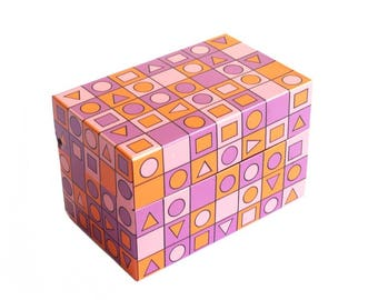 Vintage Recipe Metal Index Card File Box Geometric Pattern Syndicate Mgf. Co