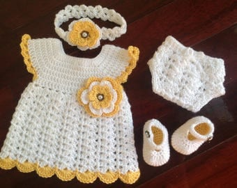 Newborn baby girl Dress 4-Piece Set(Dress, Headband, Diaper Cover, Shoes) First Thanksgiving November Baby Coming Home Outfit Ready to Ship
