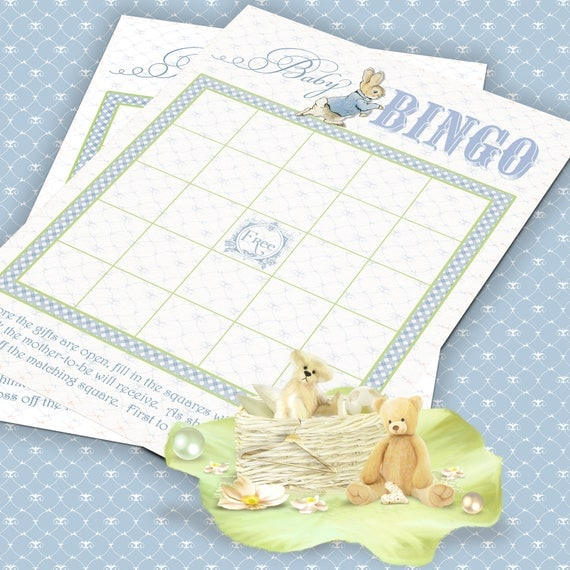 PETER RABBIT BINGO Blue Beatrix Potter Baby Shower Bingo Game