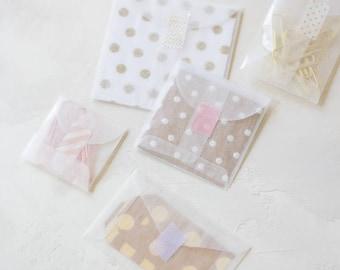 Glassine Envelopes - 50 pc - Extra Mini Square / Mini Square / Small Square / Mini Note / Mini Open-End Coin