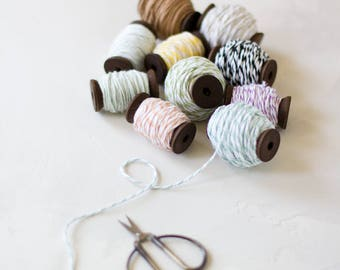 Baker's Twine on Wooden Spool - 10 yards - Champagne / Celery Green / Seafoam Blue / Black / Brown Kraft / Mint / Peach / Yellow / Purple