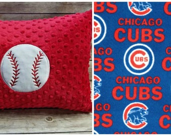 Chicago Cubs Fleece and Minky Toddler Travel Pillow Ready to Ship!