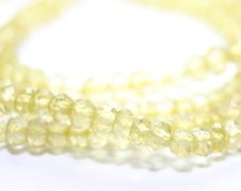 SUMMER SALE Lemon Quartz Micro Faceted Rondelles 2 Inch Strand Bright Lemon Yellow Semi Precious Gemstone