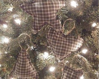 Set of 4 ornaments Christmas green plaid primitive