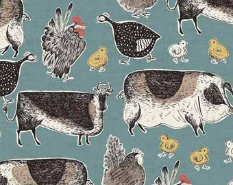 Home Grown - Animals Cows and Chickens Blue from Andover-Makower