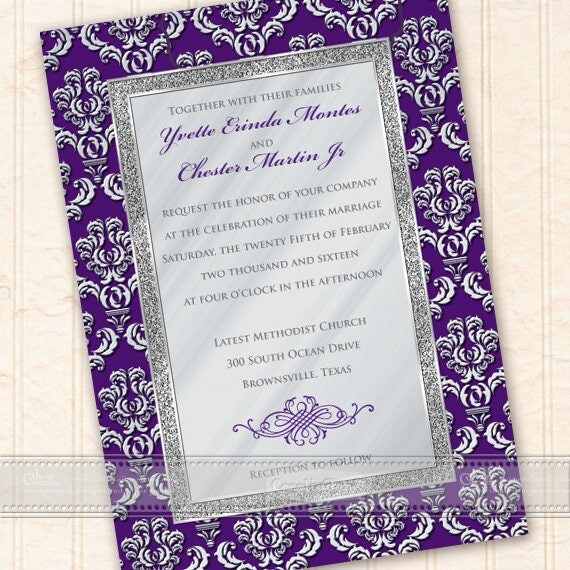 wedding invitations, plum wedding invitations, purple wedding invitations, silver wedding invitations, eggplant bridal shower, IN624