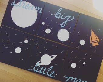 bold solar system. Dream big little man... 6 - 12x12's. custom colors, hand painted original. navy blue, white, galaxy, orange rocket