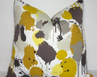OUTDOOR Paintball Painting Green Yellow Taupe Pattern Porch Pillow Cover Patio Decor Size 18x18