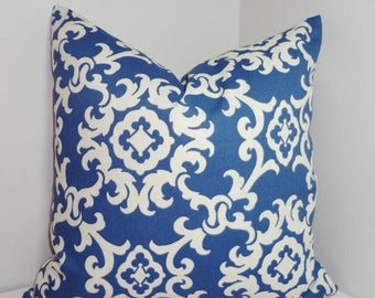 FALL is COMING SALE Outdoor Blue & White Suzani Pillow Cover Cushion Cover Porch Decorative Pillow Choose Size
