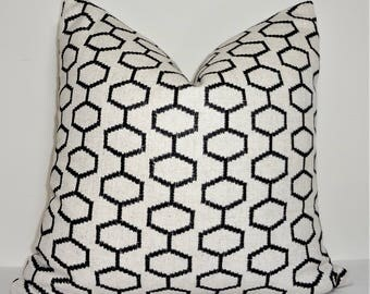 Black Embroidered Geometric Pillow Cover Embroidered Black Pillow Cover Size 18x18