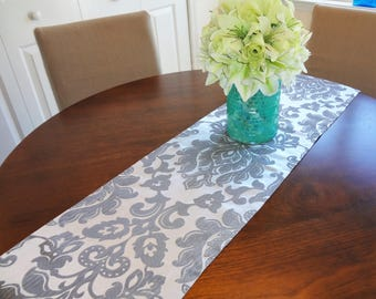 Christmas Silver Charcoal Grey Floral Damask Holiday Table Runner Dining Room Decor Home Decor by Home Living