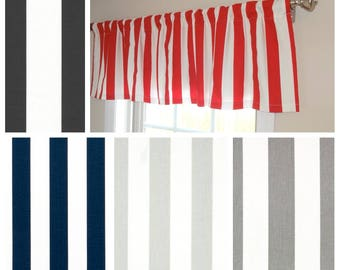 Curtain Valance Topper Window Treatment 52x15 Canopy Stripe Valance Red Black Grey White Home Decor