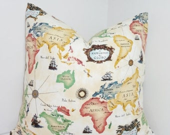 SPRING FORWARD SALE World Map Pillow Cover Africa South America North America Map Pillow Cover Size 18x18
