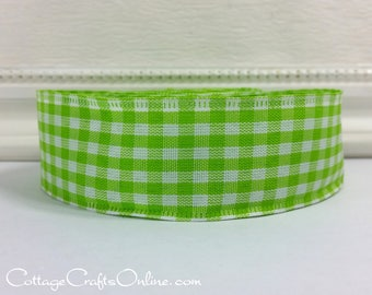 "Wired Ribbon, 1 1/2"" wide, Citrus Green White Gingham Check - TEN YARDS -  ""Country Lime Green"" Plaid Spring, Summer Craft Wire Edged Ribbon"