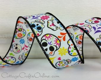 "Halloween Wired Ribbon 1 1/2"", Patterned Skulls, Multi-color Flowers - TEN YARD ROLL -  ""Day of the Dead"" Wire Edged Ribbon"