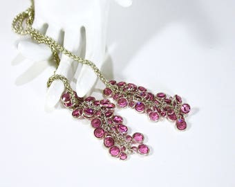 Vintage Rhinestone Lariat Necklace, Pink Tassels, Dangles, Raspberry Pink, Silver Tone, 1970's, Summer, Day to Night, Gift Idea, Excellent