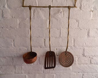 Vintage Copper and Brass Hanging Utensils - Farm House Kitchen
