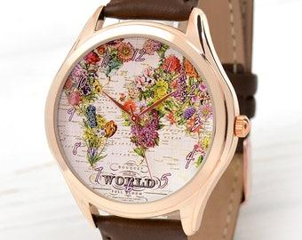 Rose Gold Flower Map Watch   Womens Watch   Traveler Gift   World Map Women Watches   Gift for Girlfriend   Best Friend Gift   Free Shipping