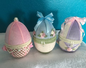 Fabric Easter Egg Containers- Set of Three- Handmade