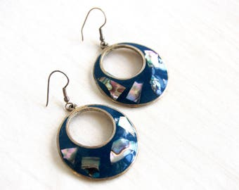 Blue Mexican Dangle Earrings Large Alpaca Abalone Dangles Vintage Gift for Her Under 20