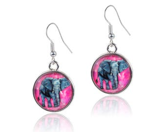 Elephant Earrings - From My painting, Kelly by Salvador Kitti