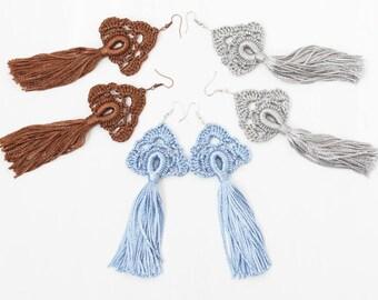 Tassel earrings Crochet jewelry Long dangling earrings Blue brown gray Hippie Gypsy Boho chic Bohemian wedding bridesmaid gifts Festival
