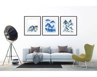 Abstract Mountain Print Art Set. Abstract watercolor print. Nature art. Wall art set. Modern home decor wall posters. Blue art Print set.