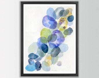 Abstract Painting Print. Pebbles art. Abstract nature painting print. Abstract watercolor poster. Modern art print bathroom wall art
