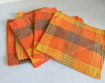 Vintage Orange Yellow Brown Napkins Mixed Set x 6
