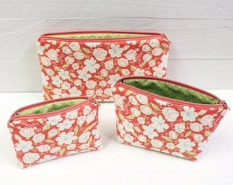 Set of 3 Zippered Pouches, Cosmetic Case, Travel Bag, Money Bag - READY to SHIP