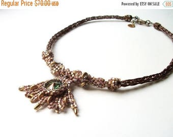 MEGA CLEARANCE Celtic Princess Necklace - Beadwoven, Viking Knit, with Swarovski Crystal in Green, Gold, and Bronze