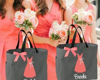 6 bridesmaid tote bags , bridesmaid gifts , tote bag , beach bag , bachelorette party gift ,wedding bag