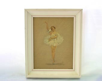 Vintage Ballerina Painting, Enchanted Princess by Monte, Framed Ballerina Painting, Vintage Reproduction Monte Ballerina,