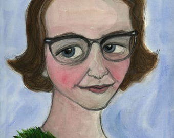 Flannery O'Connor Portrait, Large Art Print, Literary Portrait (11x14) Southern Gothic Writer, Library Decor