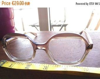 ON SALE Vintage 1960s Semi Oval Clear Brown Glasses Frames